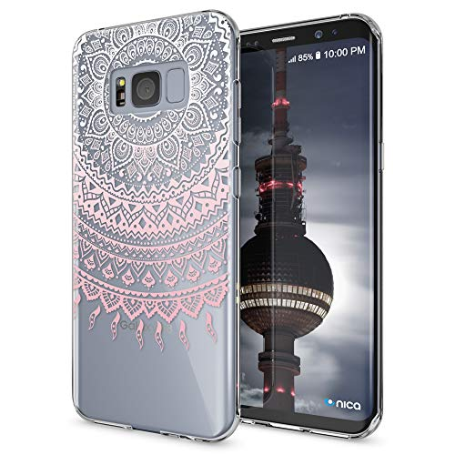 NALIA Handyhülle kompatibel mit Samsung Galaxy S8, Motiv Design Slim Silikon Hülle Cover, Crystal Schutzhülle Handy-Tasche Dünn, Muster Backcover Bumper Smart-Phone Hülle, Designs:Mandala Pink