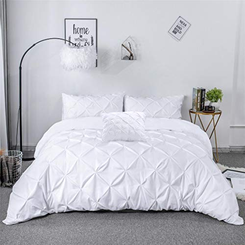 Noah's Linen PinTuck Duvet Cover Bedding Bed Set White With Pillow Cases & 1 Free Cushion Cover (SINGLE)