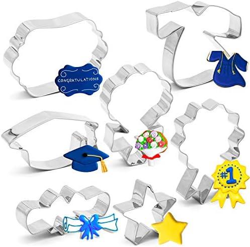 7PCS 2021 Graduation Cookie Cutter Set Graduation Cap Diploma Star Gown Plaque Frame Medallion product image