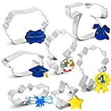 7PCS 2021 Graduation Cookie Cutter Set - Graduation Cap, Diploma, Star,Gown,Plaque Frame,Medallion,Bouquet Party Supplies Decorations