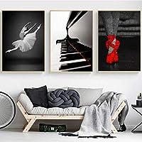 ホームデコレーションポスタープリントバレエダンサーの女の子キャンバスピアノ赤い靴壁用リビングルームの装飾-40x60cmx3個フレームなし