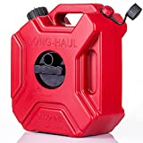 WHSSFINE Gas Can 5L 1.3 Gallon Portable Oil Fuel Storage Backup Tank with Mounting Bracket for Car Motorcycle UTV SUV ATV, Red