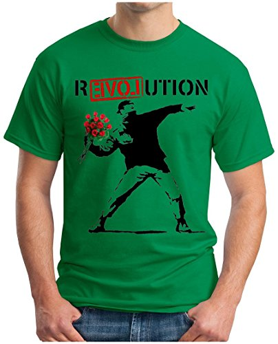 OM3 - Banksy R-EVOL-UTION - T-Shirt R-Love-UTION URBAN Street Art Peace Paix Punk Indie, M, grün