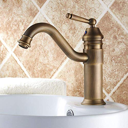 KANJJ-YU Grifo de latón antiguo con mango giratorio para lavabo y lavabo, grifo mezclador de montaje en encimera cromado