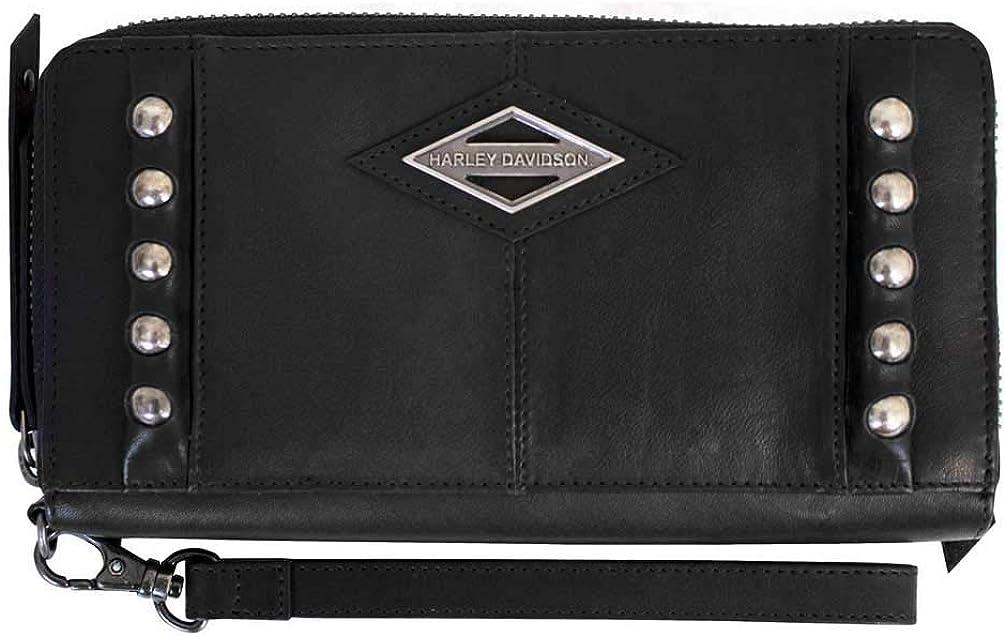 Harley-Davidson Women's Ball & Chain Zip Around Clutch Wallet BC6172L-BLACK