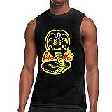 Tengyuntong Camisetas y Tops Hombre Polos y Camisas, Cobra Kai Logo Camisetas Hombre Sin Mangas Cuello Redondo Camiseta sin Mangas Bodybuilding Muscle tee