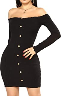 iChunhua Women's Sexy Off Shoulder Knitted Stretchy Sweater Long Sleeves Mini Party Dress
