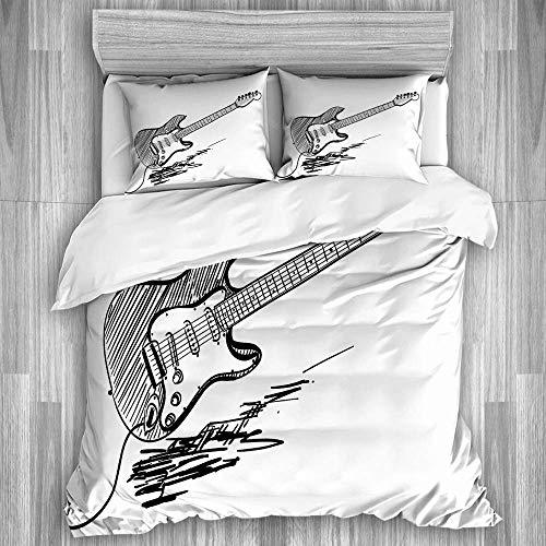 jonycm dekbedovertrek Sets hand getekende stijl elektrische gitaar op witte achtergrond rock muziek akkoorden schets kunst beddengoed Set slaapkamer 3-delige beddengoed set Hostel beddengoed 3-delige gezellige decoratieve Ho