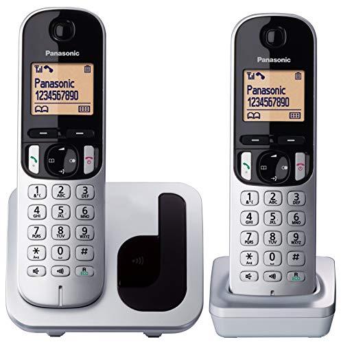 "Oferta de Panasonic KX-TGC212 - Teléfono Fijo Inalámbrico Duo Digital (LCD 1.6"", DECT, Agenda, Alarma, Bloque Llamadas, Intercomunicador entre unidades) Color Plata"
