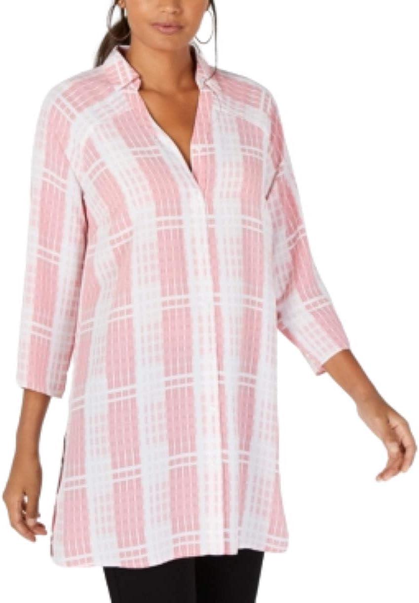 Alfani Womens Collared Long Tunic Top Pink Astte Plaid L