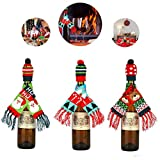 3Pcs Christmas Wine Bottle Cover, Ugly Scarf & Hat Decor Wine Accessories for Holiday Party Decorations, Include Santa Claus, Reindeer, Xmas Tree