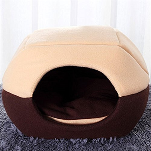FFMODE Cozy Pet Dog Cat Cave Mongolian Yurt Shaped House Bed with Removable Cushion Inside, 50X40X44cm, Khaki&Coffee