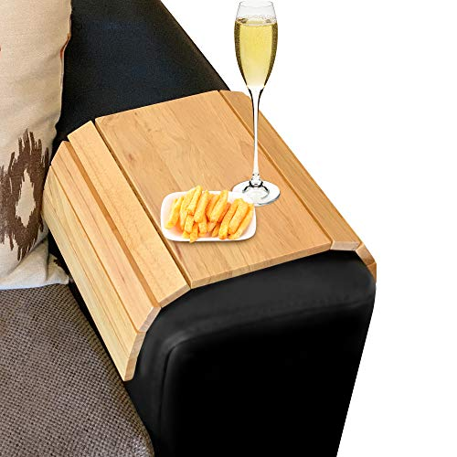 Besto Sofa Arm Tray Foldable Wooden Armrest Tray Sofa Organiser for Drinks, Snack, Magazine, and Remote - Square Couch Protector Laptop and Tablet Holder