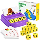 Educational Games for Kids Ages 3-8, Matching Letter Game for Kids Toys for 3-8 Year Olds Boys Girls Birthday Gifts for 3-8 Year Olds Girls Boys Preschool Kindergarten Educational Spelling Toys Purple