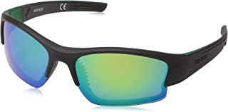 Vapor 17 Smoke Polarized with Mirror Flash Sunglasses, Black/Green