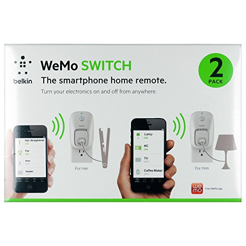 Wemo 2-Pack Switch, Wi-Fi Smart Plug, Control Lights and Appliances From Your Phone
