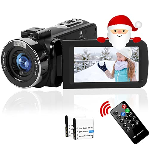 Camcorder Full HD 2.7K 42MP 18X Digital Zoom Video Camera for YouTube Fill Light Pause Function Vlogging Camera with 3.0''LCD and 270°Rotation Screen Digital Camera with Remote Control