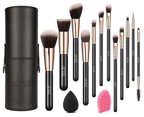Makeup Pinselset mit Pinselhalter, 12 Stück The Fellie Schminkpinsel Set mit Pinselreiniger und...