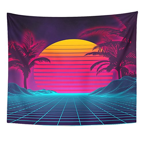TOMPOP Tapestry Retro Futuristic Neon Landscape 1980S Digital Cyber 80S Party Sci Home Decor Wall Hanging for Living Room Bedroom Dorm 50x60 Inches