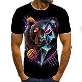SSBZYES Camiseta para Hombre Camiseta De Manga Corta De Gran Tamaño para Hombre Camiseta De Cuello Redondo para Hombre Camiseta para Hombre Patrón De Cabeza De Oso Animal Camiseta De Pareja Camiseta