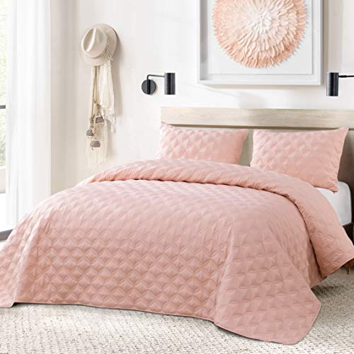 Exclusivo Mezcla 3-Piece King Size Quilt Set with Pillow Shams, as Bedspread/Coverlet/Bed Cover(Ellipse Pale Blush) - Soft, Lightweight, Reversible& Hypoallergenic