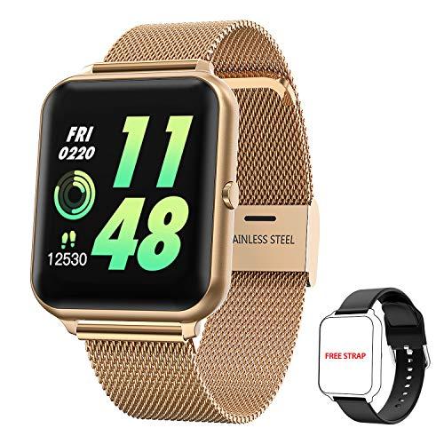 Smartwatch Damen Herren, HopoFit Fitness Tracker 1.4 Zoll Touchscreen Smart Watch mit Pulsuhr Schlafmonitor Stoppuhr Schrittzähler Uhr Wasserdicht Fitness Armband für Android iOS (Gold)