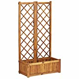 Canditree Patio Wooden Planter with Trellis, Free Standing Raised Garden Bed for Flowers, Vegetables, Climbing Plants