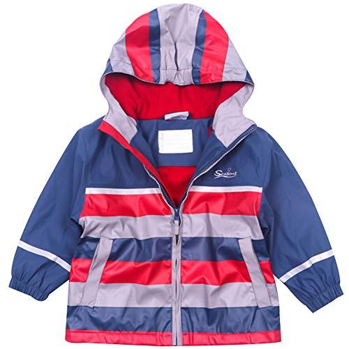 Kinder Jungen Wasserdichte Jacke Windbreaker Regenjacke Regenmantel Herbst-Frühling Warm Fleece Softshelljacke mit Kapuze (86/92)