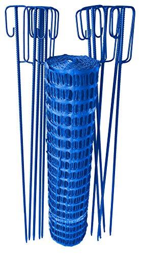 UvV-Reflex Set Fangzaun BLAU, 50 m + 10 Absperrleinenhalter, Absperrnetz, Maschenzaun, Bauzaun Rolle Kunststoff Extra Reissfest, 150 gr (7,50 kg)(Blau)