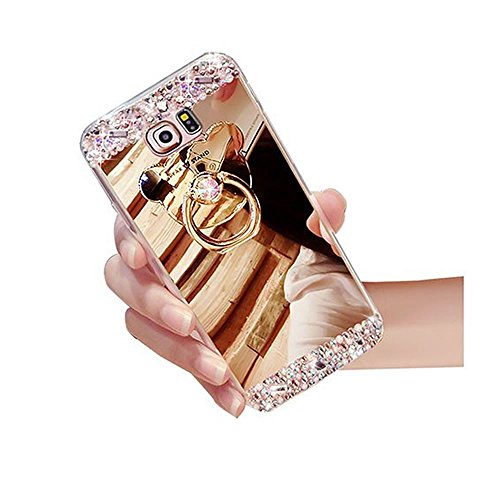 Sycode Custodia Specchio per Galaxy S7 Edge,Diamante Cover per Galaxy S7 Edge,Strass Glitter Silicone Custodia con Orso Ring Supporto per Samsung Galaxy S7 Edge-Oro