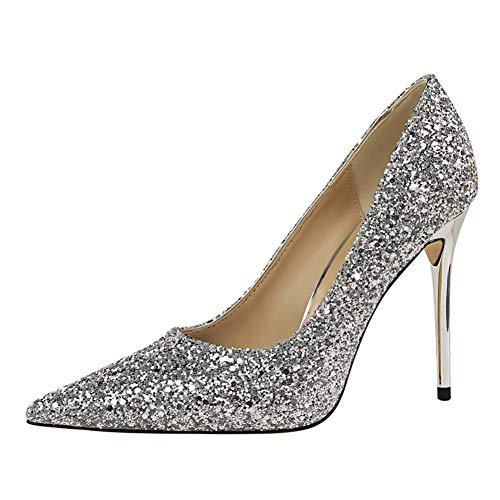 wealsex Mujer Zapatos de Tacón Lentejuelas Clásico Stilettos High Heels Fiesta Boda...