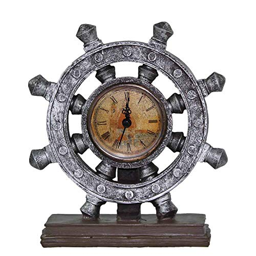 Nautical Wheel Boat Steering with Roman Numeral Time Clock Rudder Desk Clock Decor Crafts Nautical Home Decoration Vintage Gift- Brown