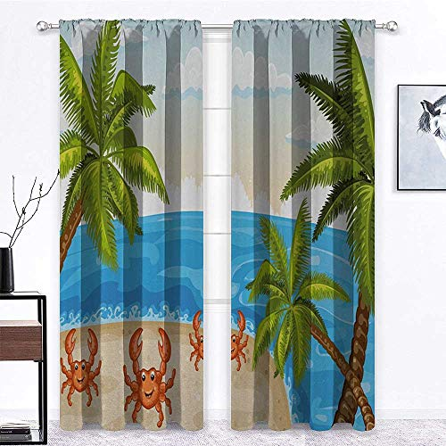 YouXianHome Crabs Curtains Cartoon Style Illustration of The Palm Trees and Crabs on Beach Cloudy Sky Print Room Darkening Noise Reducing Aqua Beige | 2 Panels 27' W x 63' L