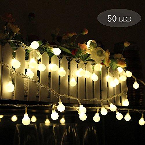 Morbuy Guirlande Lumineuse Boule, Batterie Lumineuse Boules 50 LED Boules Longueur 5 Mètres Lumière Blanche Chaude Alimenté par Batterie Balle Lumière Décoration pour La Saint Valentin Noël Fêtes