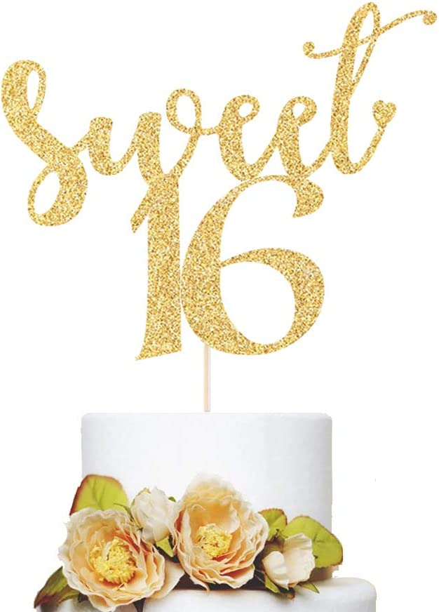 Super popular specialty store 16th Birthday Cake Topper Sweet Sided Double Glitter Gold 16 Mail order