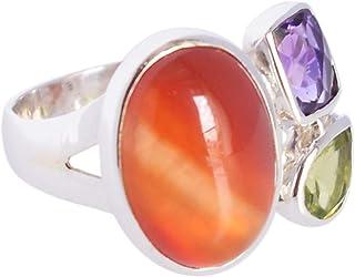 Ravishing Impressions Jewellery Anillo de plata de ley 925 con peridoto de amatista, joyería de moda para regalos