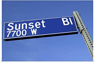 GREATBIGCANVAS Poster Print Sunset Boulevard Sign Against a Blue Sky from a Low Angle. by 18