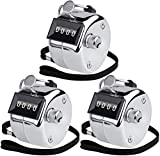 KTRIO Pack of 3 Metal Hand Tally Counter 4-Digit Tally Counters Mechanical Palm Counter Clicker Counter Handheld Pitch Click Counter Number Count for Row, People, Golf, Lap & Knitting, Silver