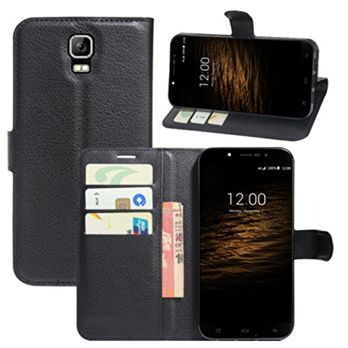 HualuBro UMI Rome Schutzhülle, UMI Rom X Hülle, Premium PU-Leder Wallet Flip Phone Schutzhülle mit Kartenfächer für UMI Rome/UMI Rome X Smartphone (schwarz)