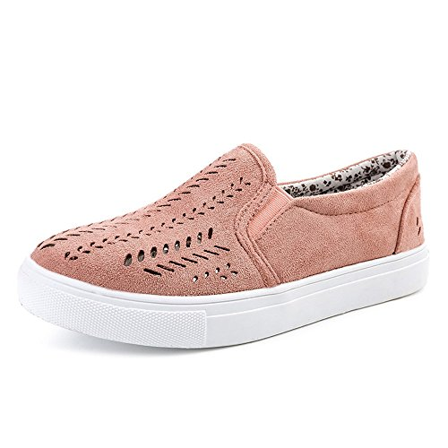 MRULIC Damen Aushöhlen Schuhe Runde Zehe Plattform Flache Slip Freizeitschuhe Atmungsaktiv Leichter Weicher Sneaker(Rosa,37 EU)