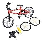 GARNECK Bicicleta de Dedo Mini Bicicleta de Montaña Dedo Bicicleta de Juguete con Ruedas de Repuesto Y Herramientas Creativo Juego de Regalo ( Rojo )