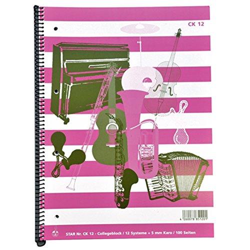 Notenheft-Collegeblock DIN A4 12 Systeme-5 mm Karo, 50 Blatt