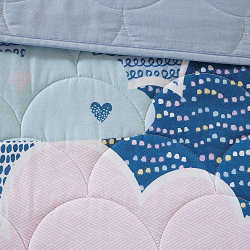 Urban Habitat Kids Cloud Bedding Blue, Geometric, Unicorn – 4 Piece Kids Girls 100% Cotton Quilt Sets Coverlet, Twin