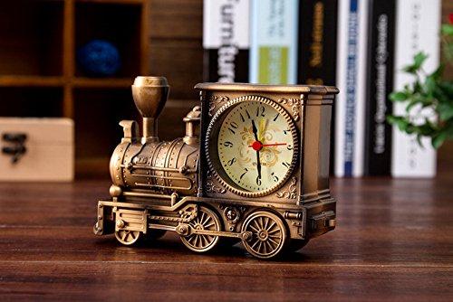 Originalität Vintage Lokomotive Wecker, Silent Retro Quartz Bell Tisch Schreibtisch Alarm Uhr (Bronze)