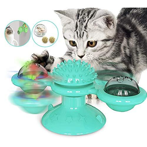 Souarts Interactief kattenspeelgoed Turning windmolen platenspeler haarborstel kattenbal met kattenmunt LED, blauw