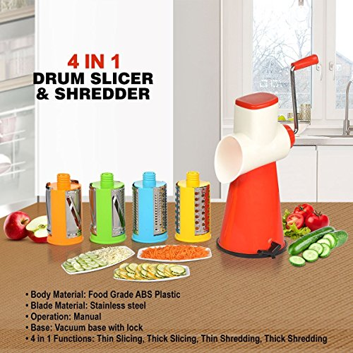 Slings Premium 4 in 1 Drum Grater Shredder Slicer Rotary Cutter for Vegetable, Salad Maker with 4 Different Drums