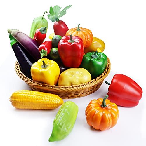 GZhaizhuan 10 Stück Künstliches Gemüse, Schaum Kunstgemüse, Artificial Vegetables für Home House Küchendekoration und Foto Requisiten (10 Gemüsesorten)