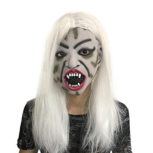 AJDGL Vampir-Maske, Latex Horror Female Ghost Mask mit weißem Haar für Scary Festival Ghost Theme Erwachsene Party Dekoration Requisiten
