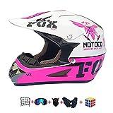 Casco Moto niño,Casco Motocross niño Moto Set con Gafas/Máscara/Guantes Casco Motocross (6unidades) Apto para Cuatro Estaciones (A, 55-56CM)
