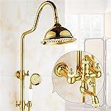 Juego de ducha de oro Cristal de latón expuesto bañera Grifería de la ducha Doble manija de lluvia cabezal de ducha redondo baño de pared de montaje , 2